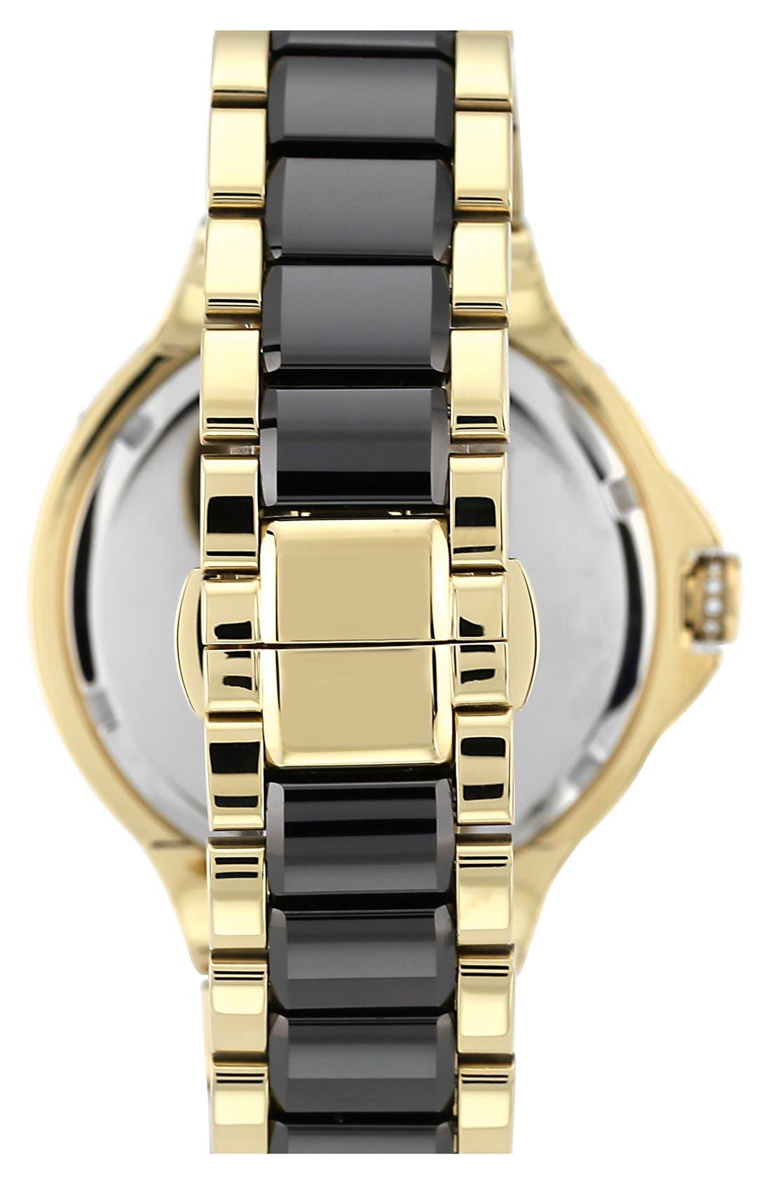 Alternate Image 2  - Vince Camuto Crystal Bezel Multifunction Ceramic Link Bracelet Watch, 42mm