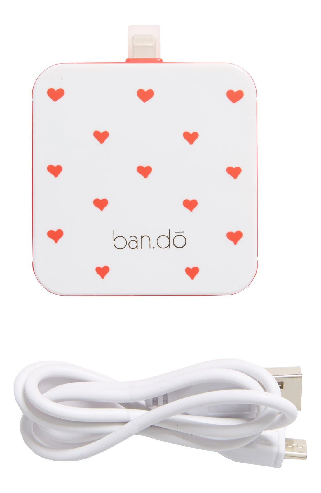 'Back Me Up' iPhone 5 Charger,                             Main thumbnail 1, color,                             Hearts