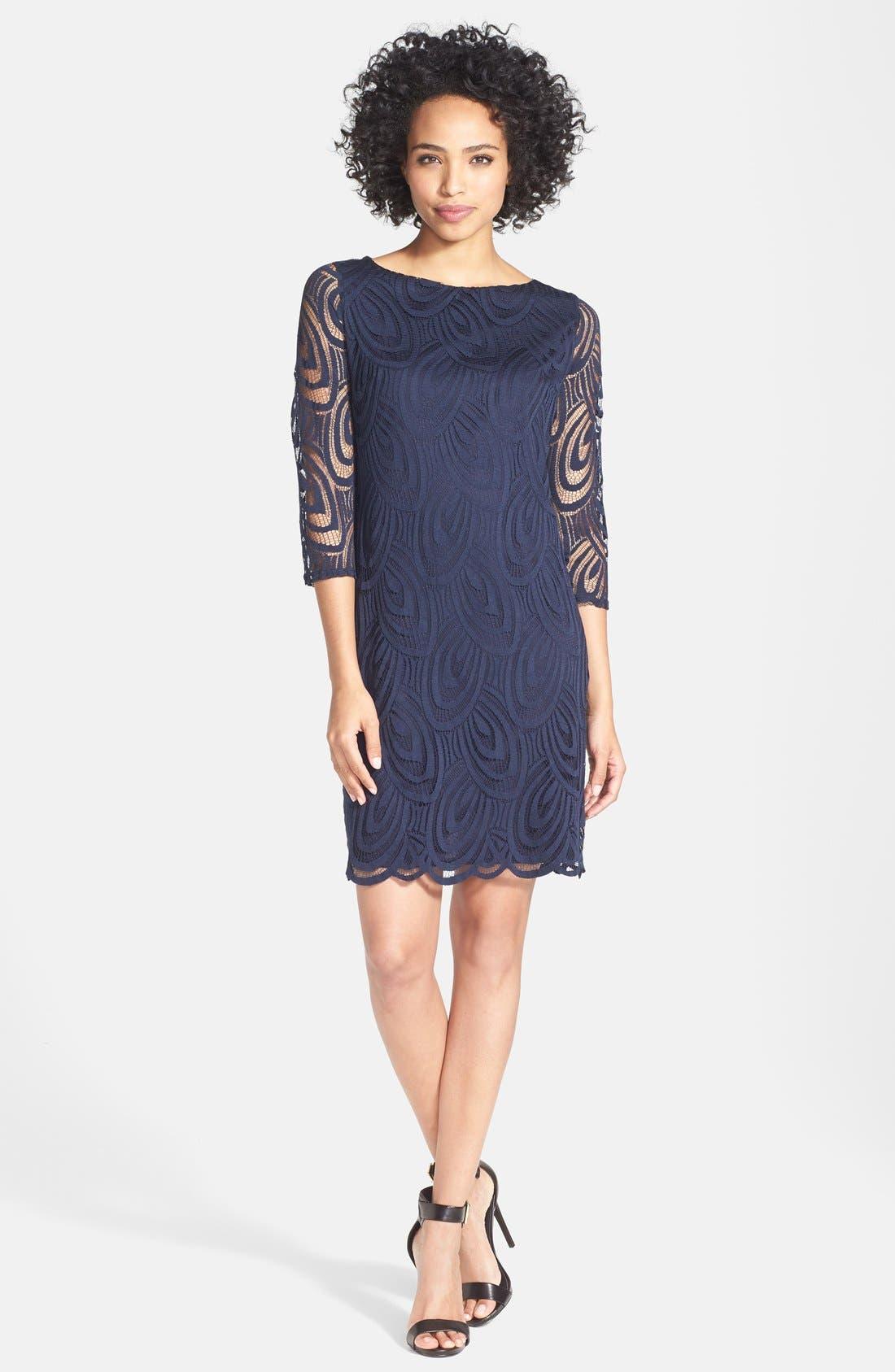 Alternate Image 1 Selected - wallis Scallop Lace Shift Dress