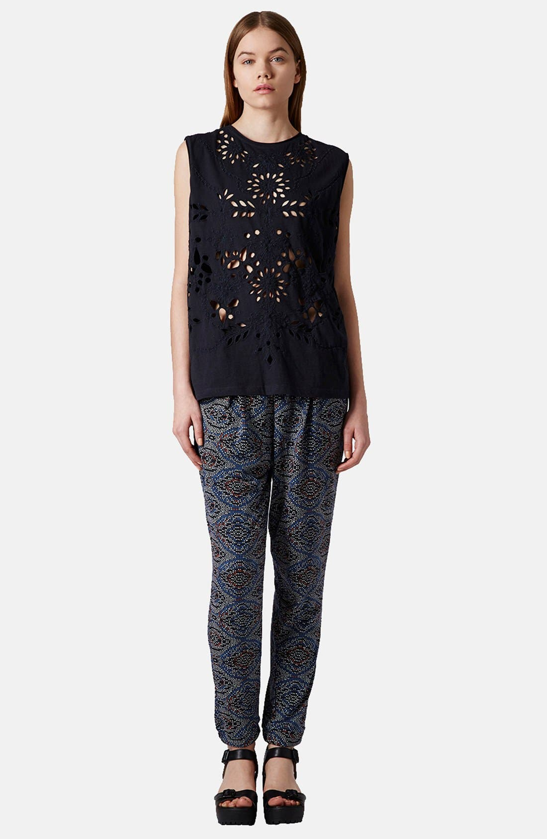 Alternate Image 5  - Topshop Tile Print Jersey Pants