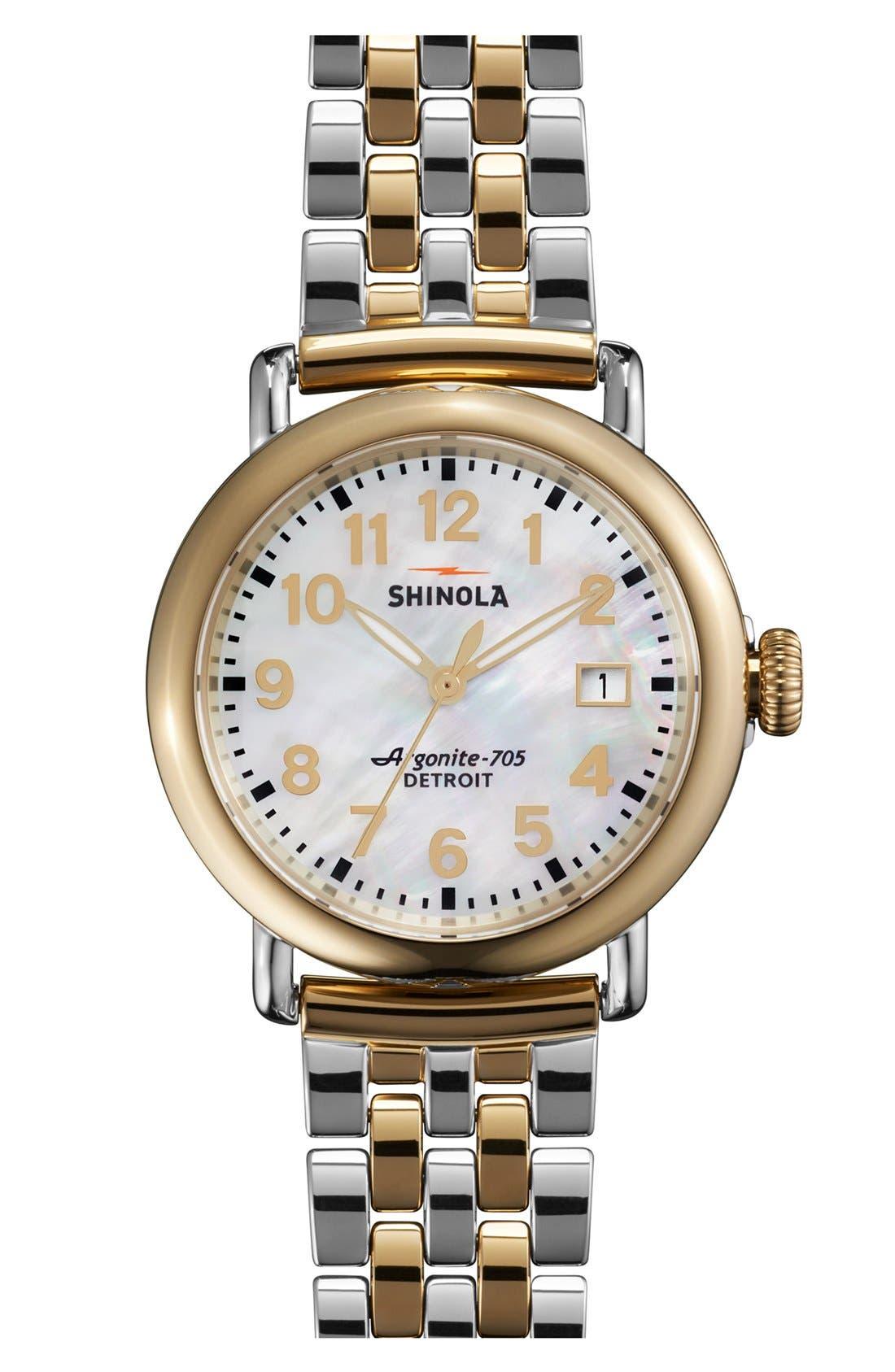Shinola 'The Runwell' Bracelet Watch, 36mm