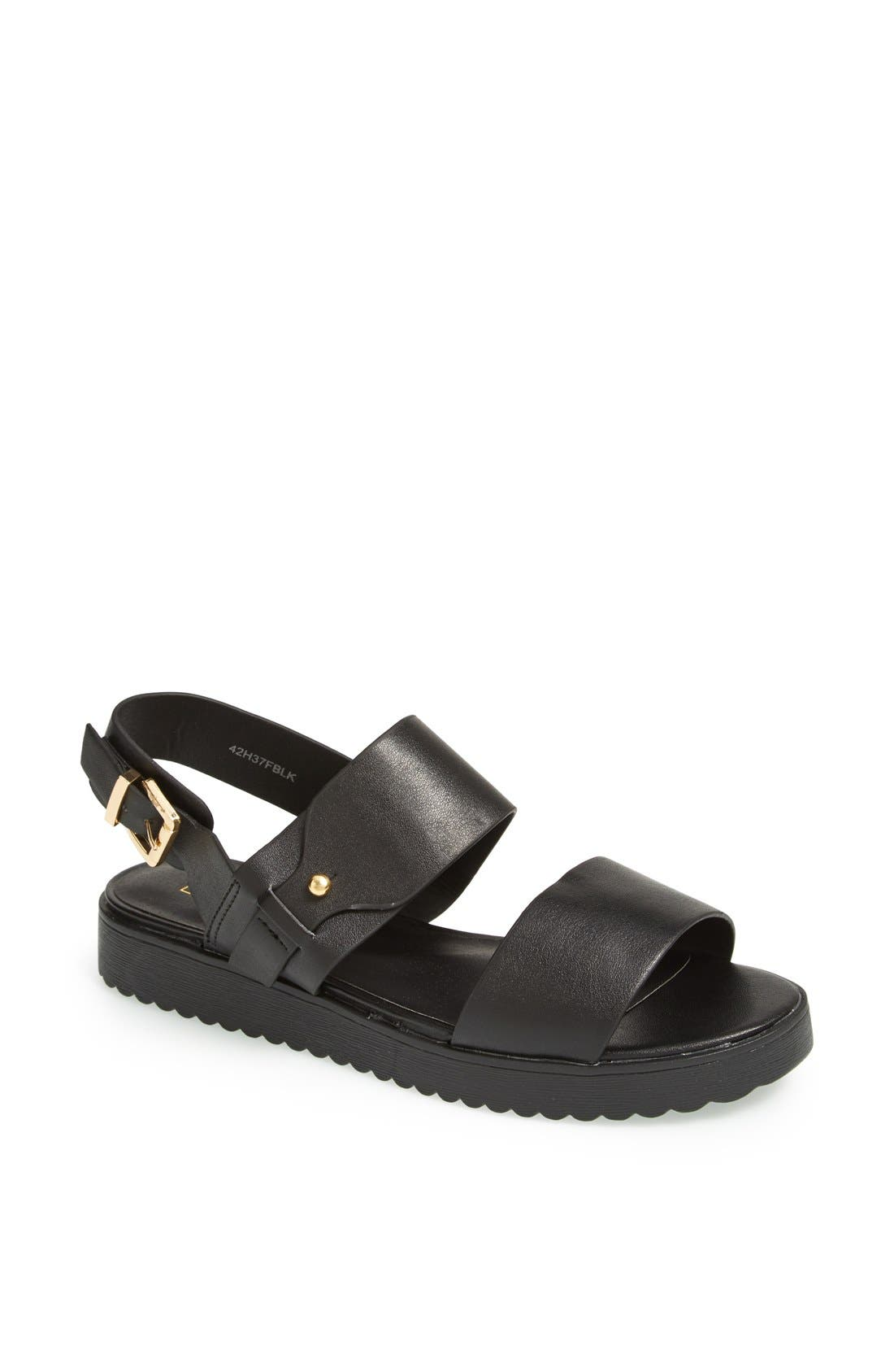 'Hydrate' Faux Leather Sandals,                         Main,                         color, Black