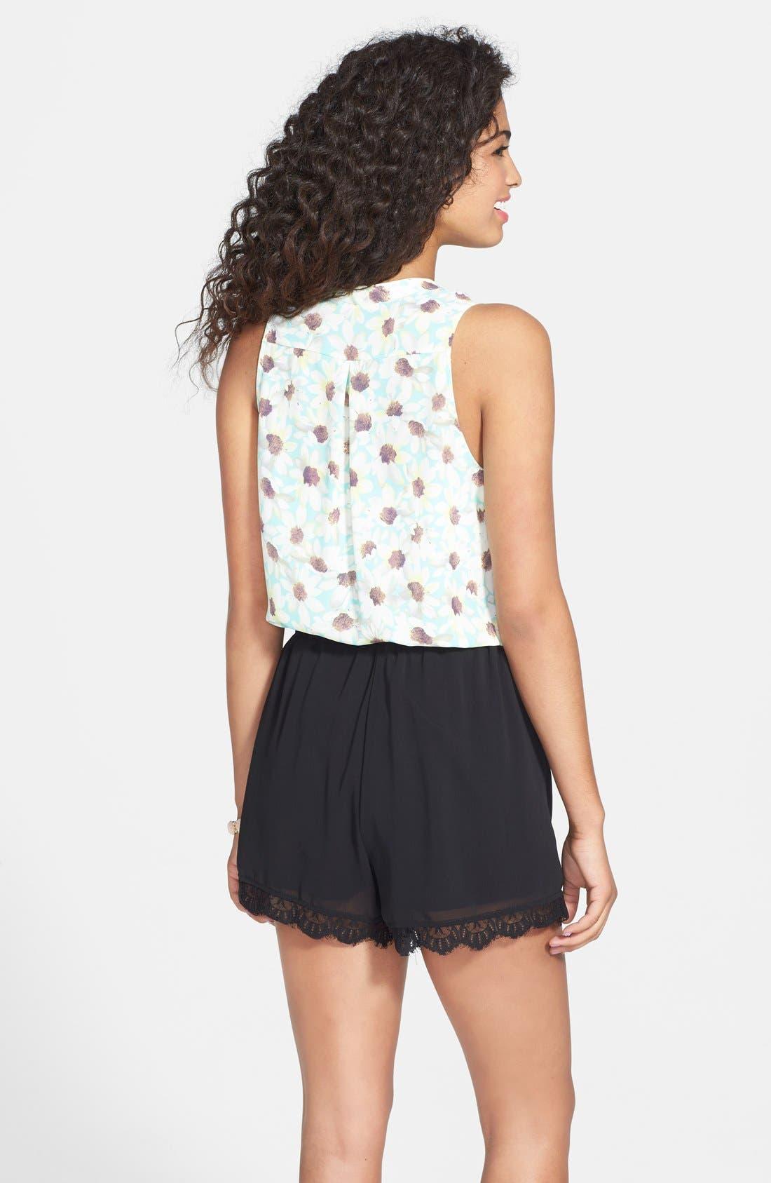 Alternate Image 2  - Socialite Lace Trim High Waist Shorts (Juniors)