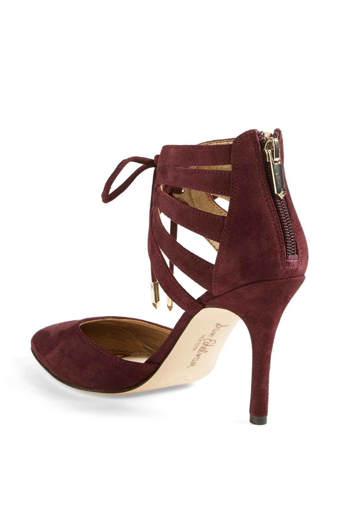 'Zachary' Cutout Ankle Cuff Suede Pump,                             Alternate thumbnail 2, color,                             Burgundy