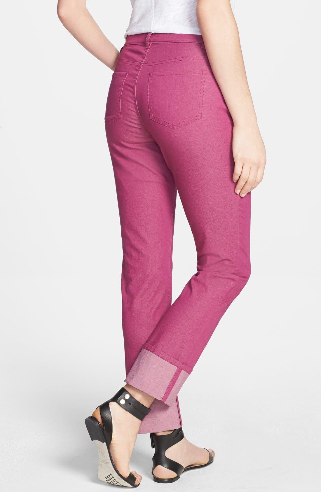 Alternate Image 2  - Lafayette 148 New York Cuffed Colored Stretch Denim Crop Jeans