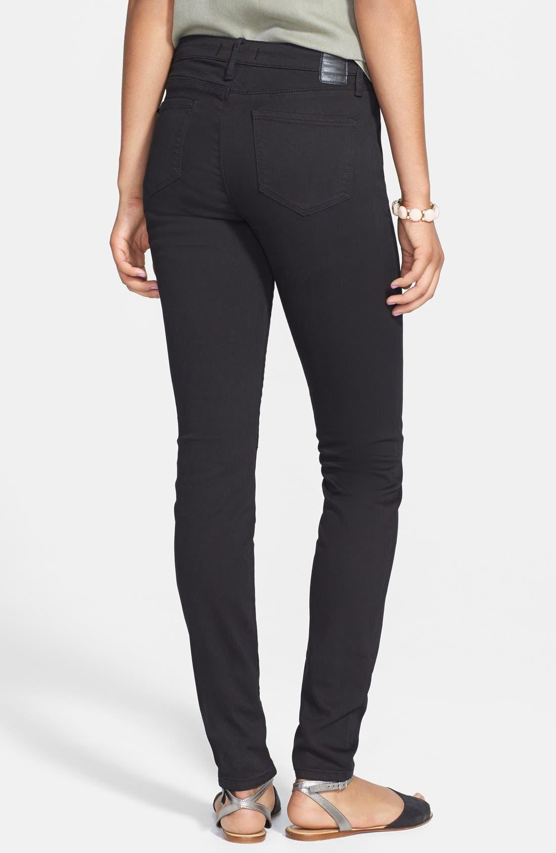 Alternate Image 2  - THIS CITY High Waist Skinny Jeans (Black) (Juniors)