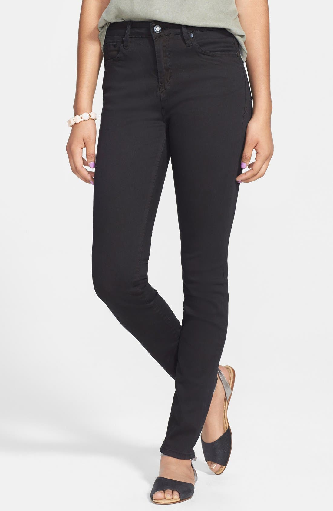 Alternate Image 1 Selected - THIS CITY High Waist Skinny Jeans (Black) (Juniors)