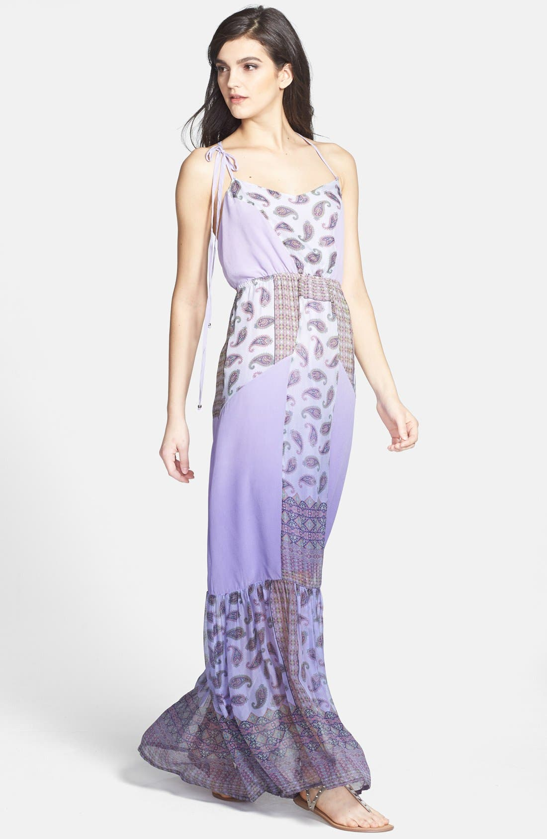 Alternate Image 1 Selected - Gypsy 05 Print Chiffon Panel Silk Maxi Dress