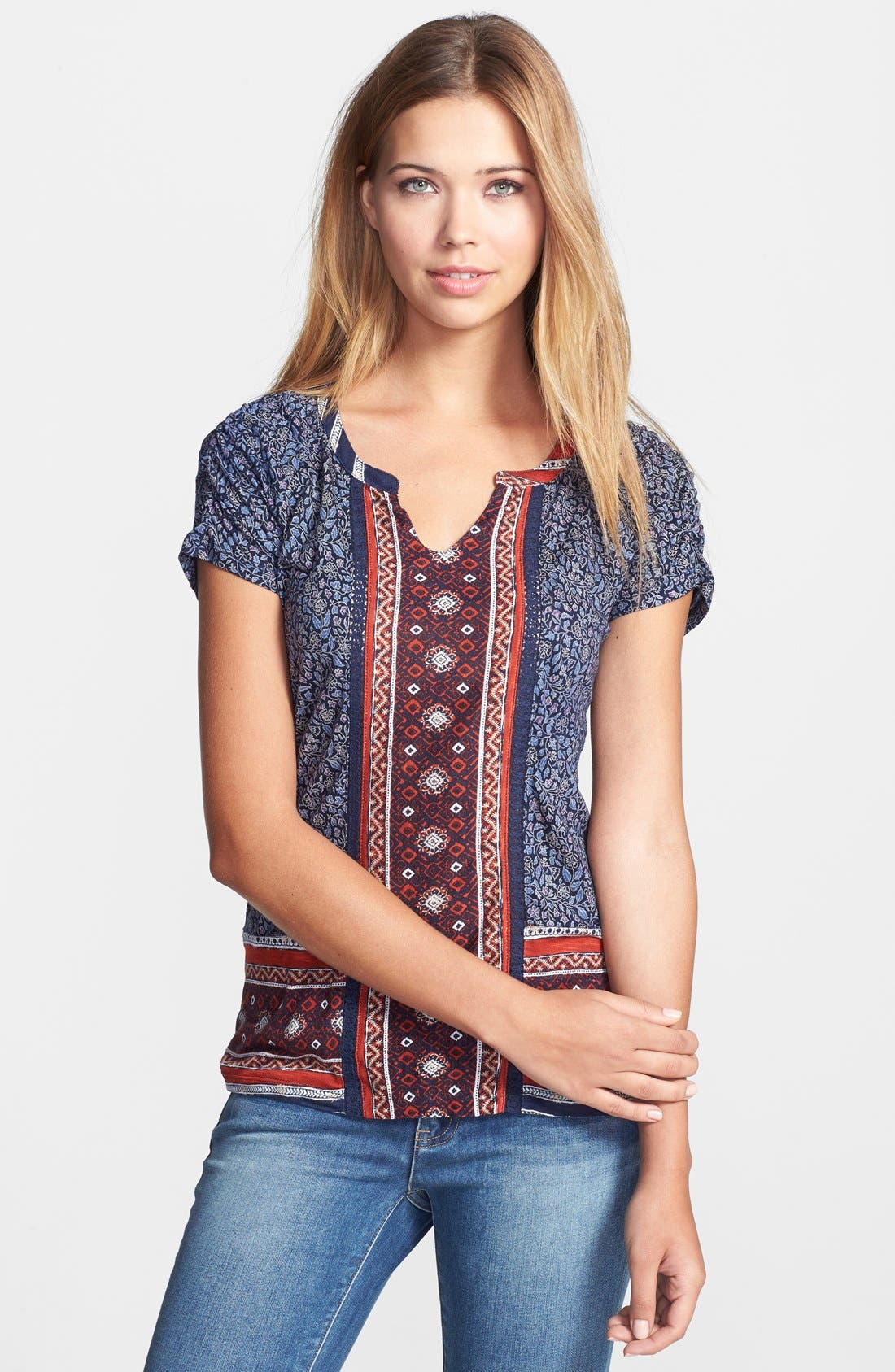Alternate Image 1 Selected - Lucky Brand Scarf Print Woven Top
