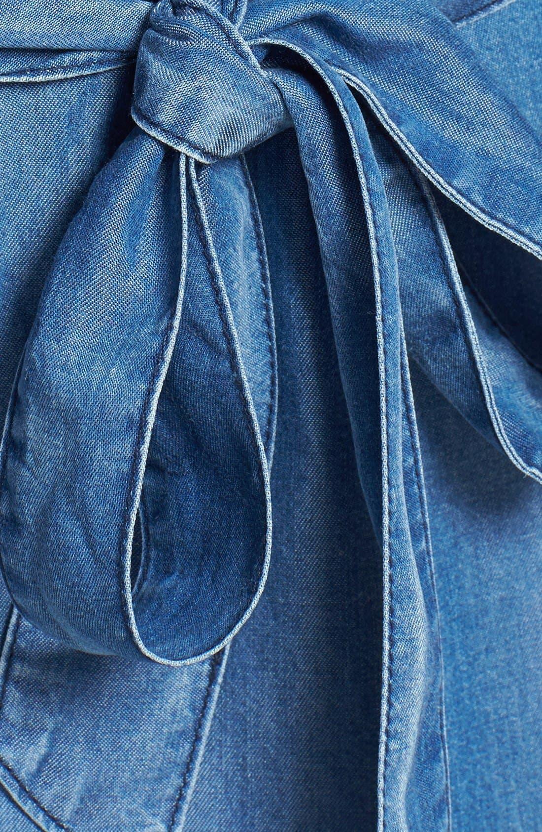 Alternate Image 4  - Velvet Heart Roll Sleeve Chambray Shirtdress