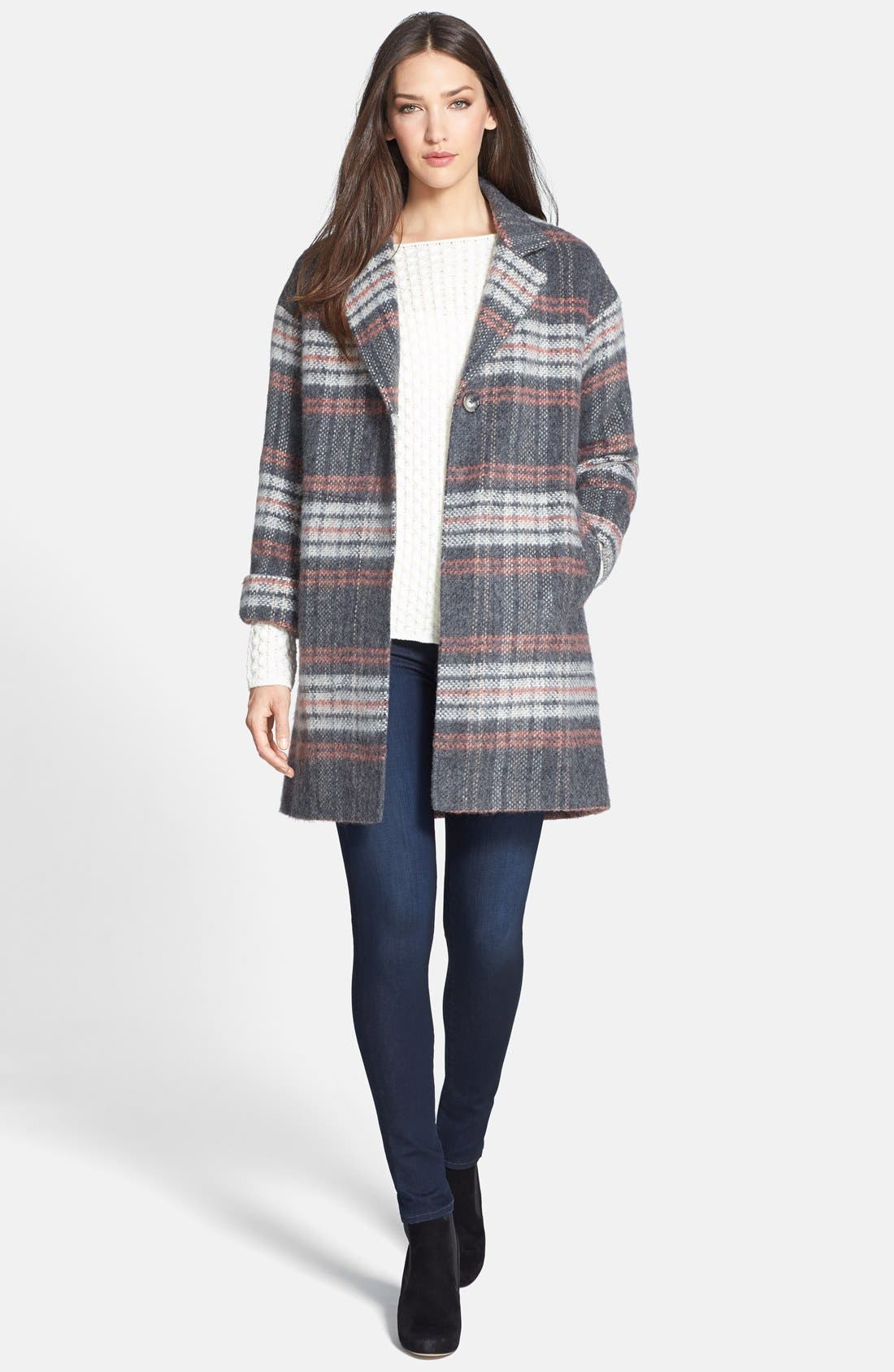 Plaid Coat,                             Alternate thumbnail 4, color,                             Pale Grey/ Pink