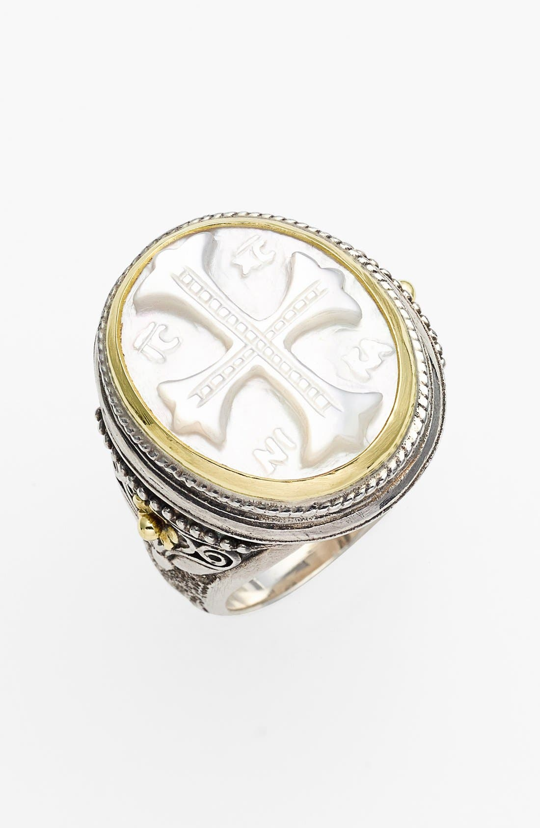 'Athena' Mother of Pearl Signet Ring,                             Main thumbnail 1, color,                             Silver/ Gold