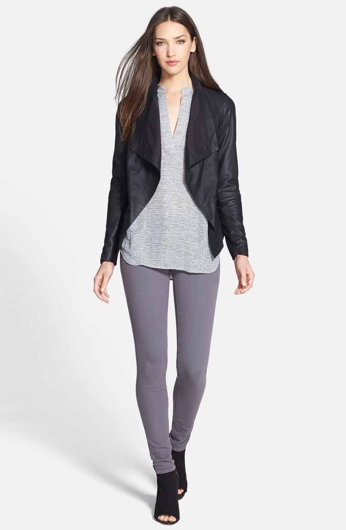 Alternate Image 3  - Vince Drape Neck Leather Jacket