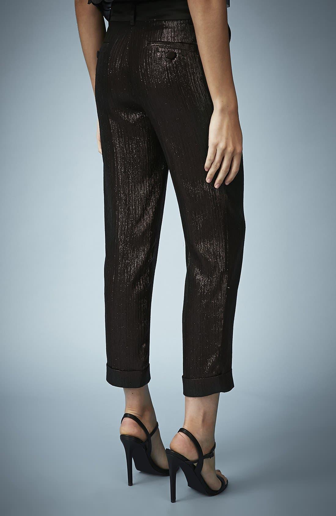 Alternate Image 2  - Kate Moss for Topshop Lamé Tuxedo Pants