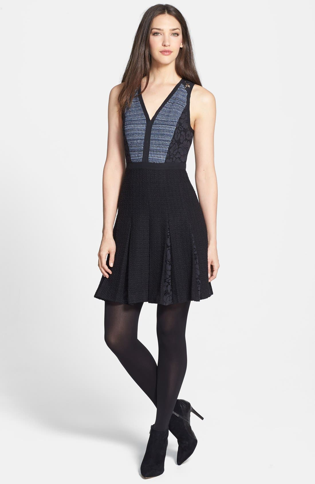 Alternate Image 4  - Rebecca Taylor Lace & Tweed A-Line Dress