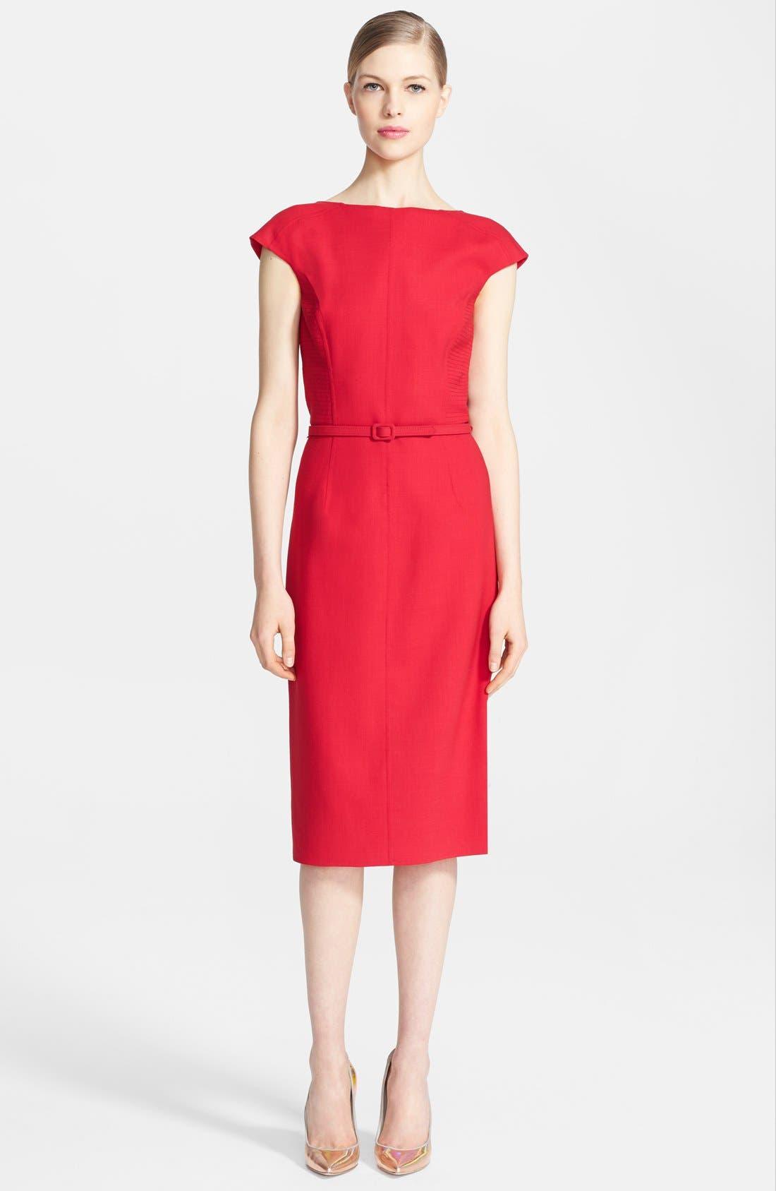 Main Image - Oscar de la Renta Ruffle Back Pencil Dress