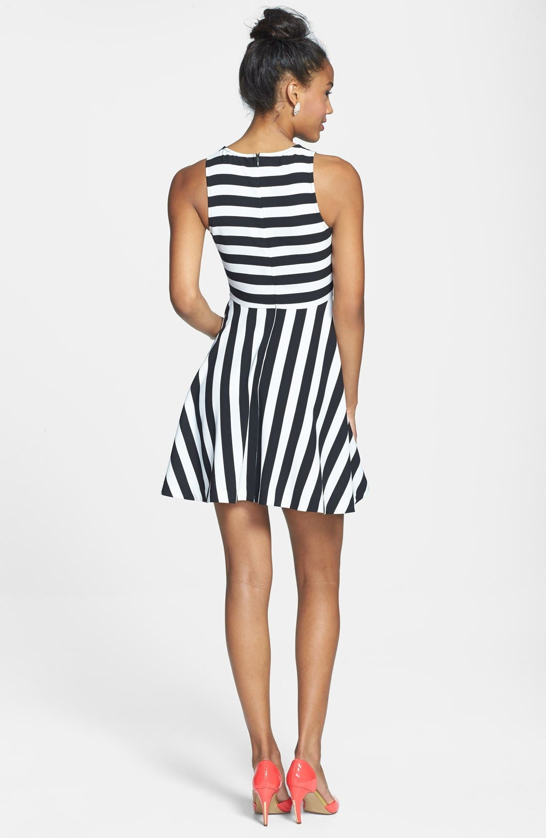 Alternate Image 2  - Cream and Sugar Stripe Fit & Flare Dress (Juniors)