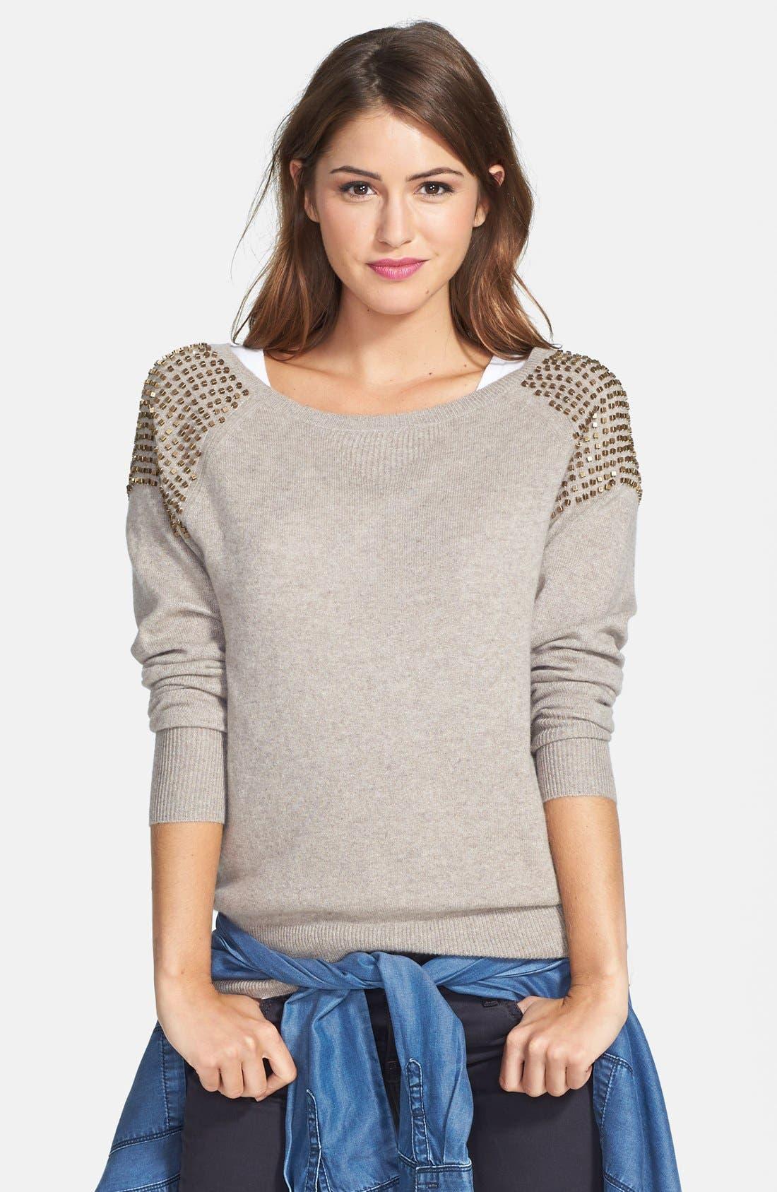 Embellished Shoulder Cashmere Sweater,                         Main,                         color, Heather Stone Cobbler