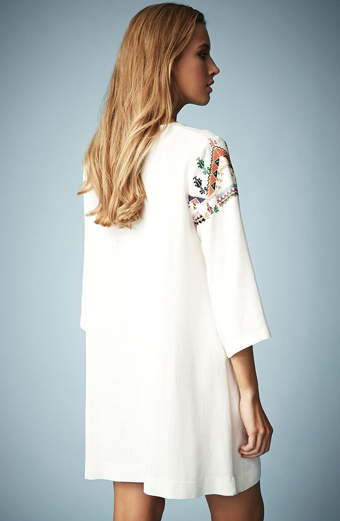 Alternate Image 2  - Kate Moss for Topshop Embroidered Smock Dress