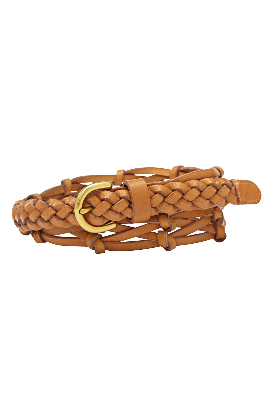 Alternate Image 1 Selected - Fossil Knotted & Woven Leather Belt
