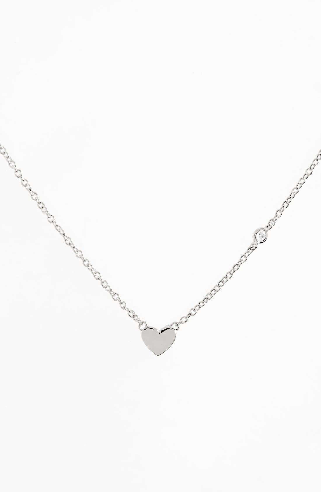 Heart Necklace,                         Main,                         color, Silver