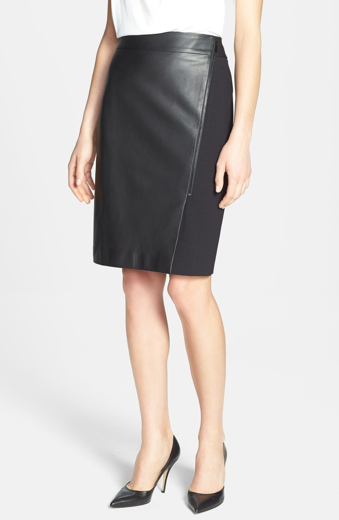 Alternate Image 1 Selected - Classiques Entier® Leather Front Ponte Skirt