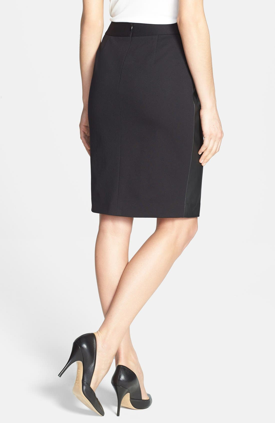 Alternate Image 2  - Classiques Entier® Leather Front Ponte Skirt