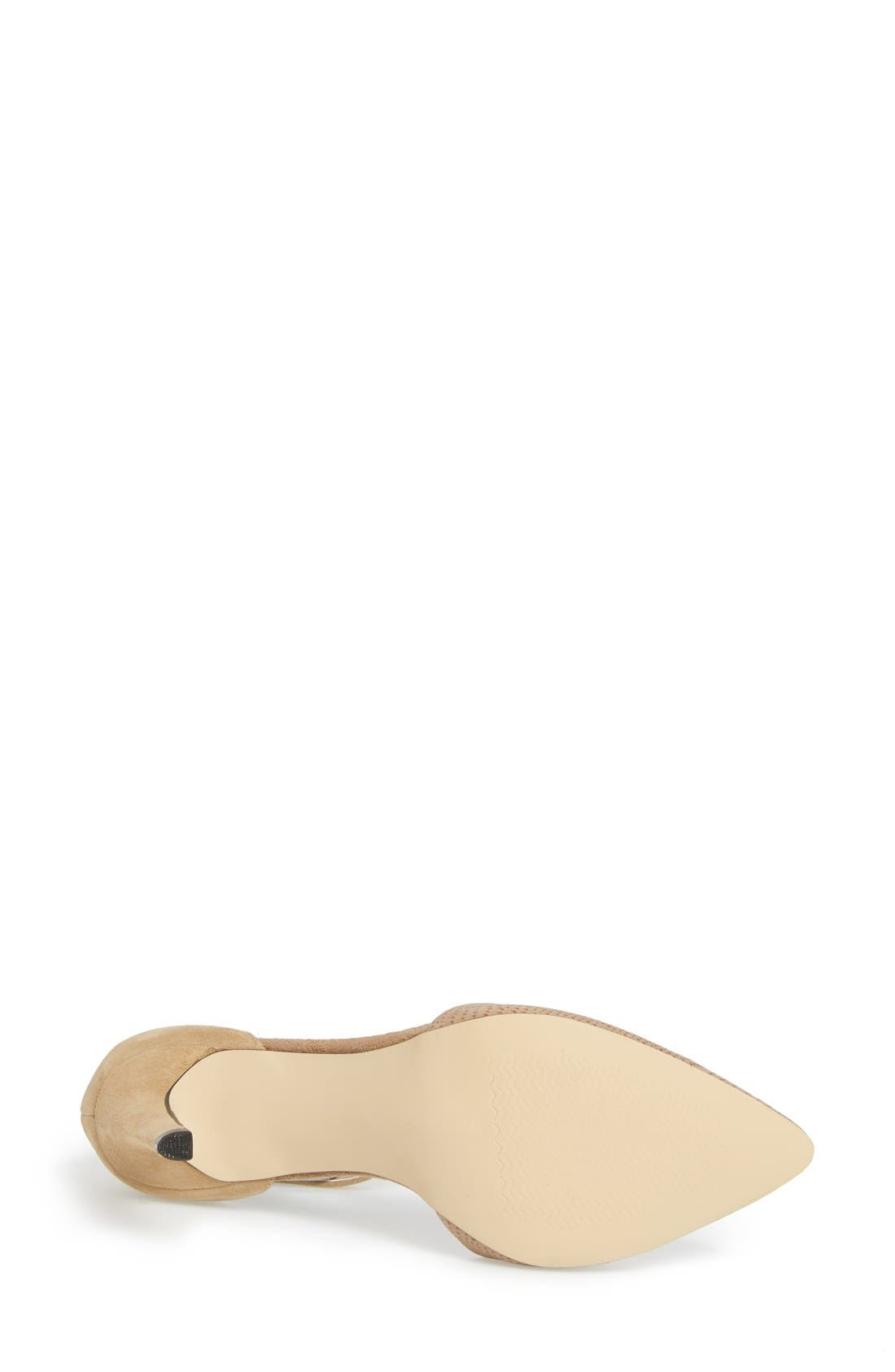 'Mallory' Ankle Strap Pump,                             Alternate thumbnail 4, color,                             Beige/ Nude