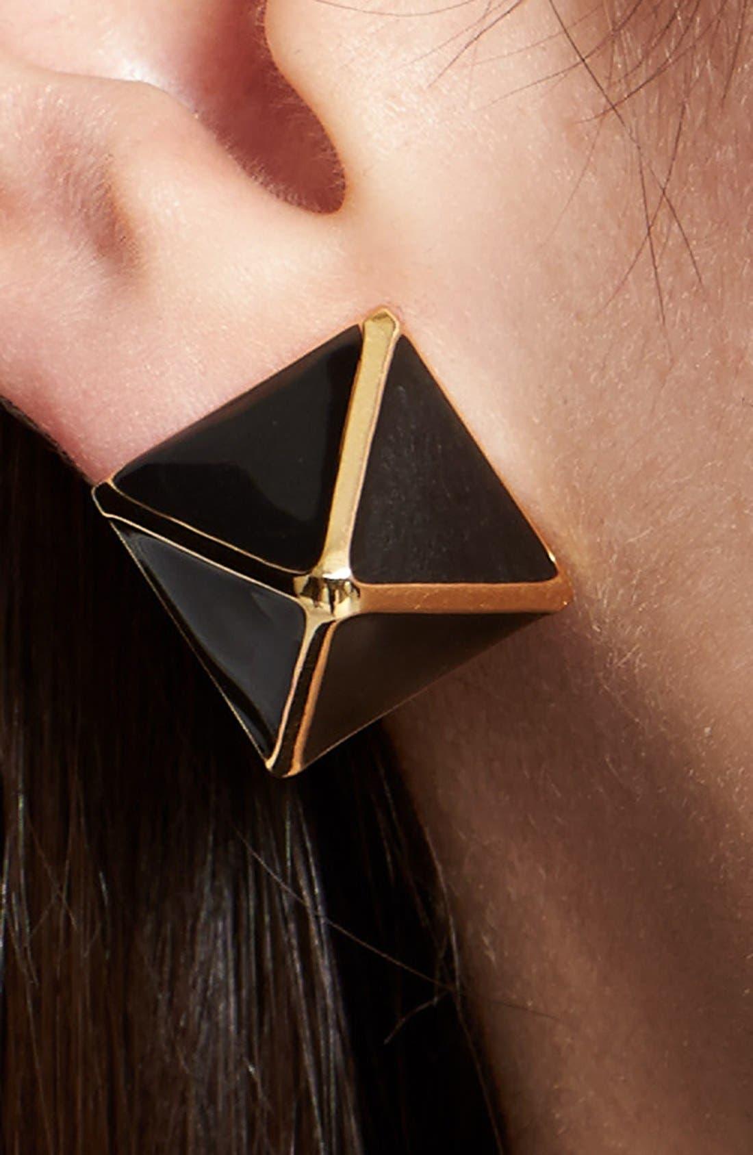 Alternate Image 2  - St. John Collection Enamel Pyramid Stud Earrings