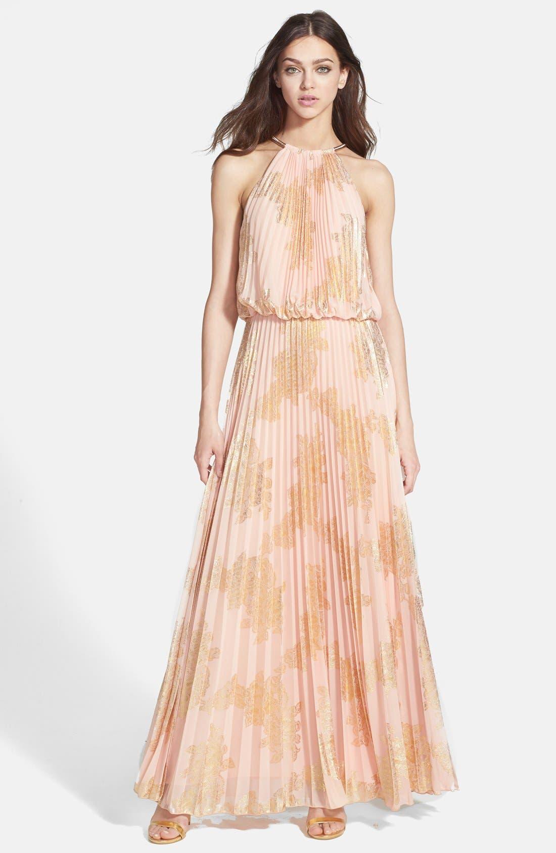 Main Image - Xscape Foiled Pleat Blouson Dress