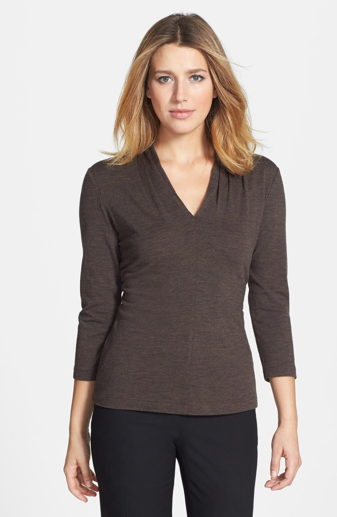 Alternate Image 1 Selected - Lafayette 148 New York Pleated V-Neck Top (Petite)