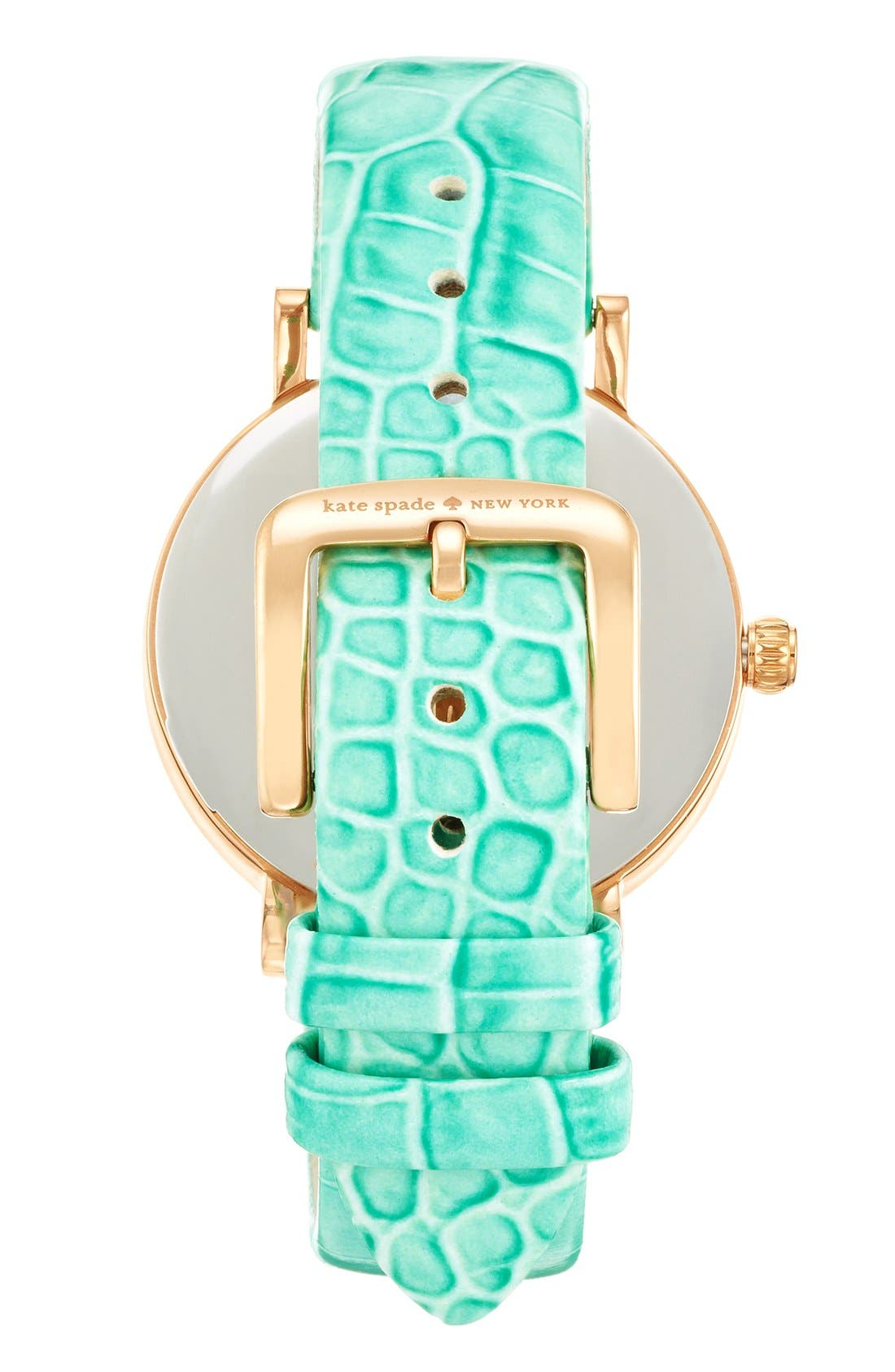 Alternate Image 2  - kate spade new york 'metro' embossed leather strap watch, 34mm