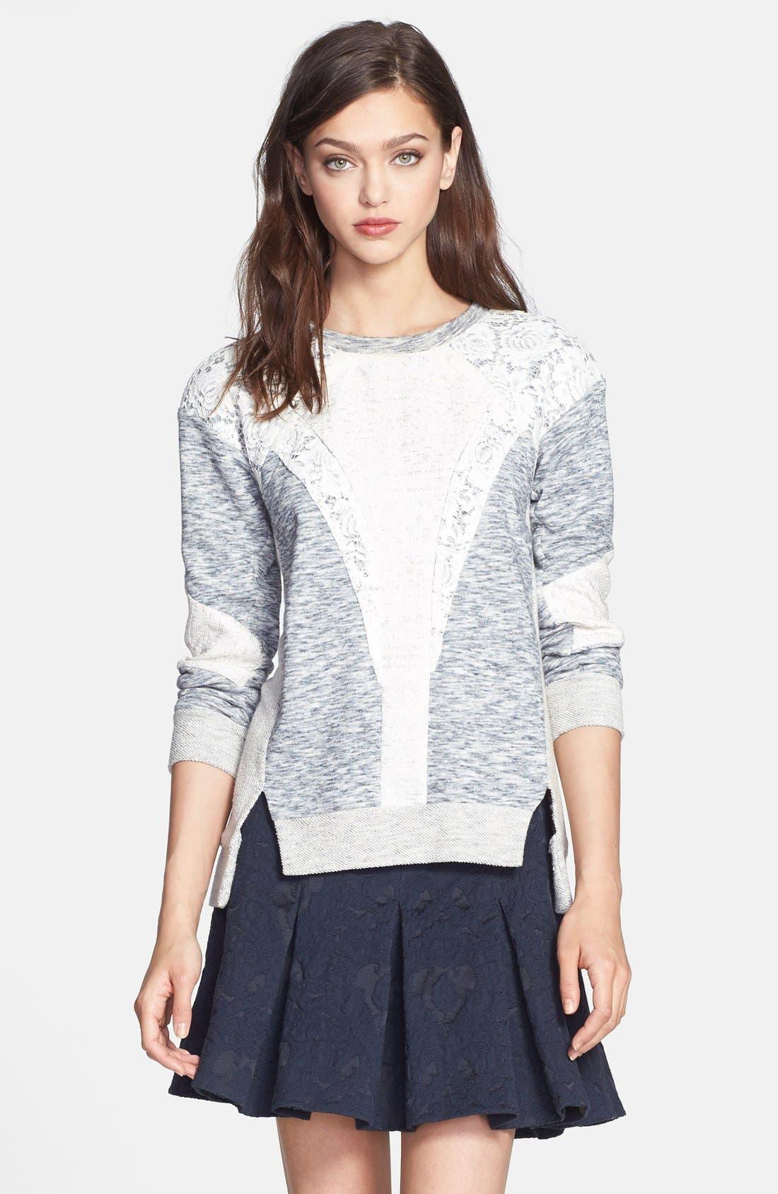 Alternate Image 1 Selected - Rebecca Taylor Lace Insert Sweatshirt