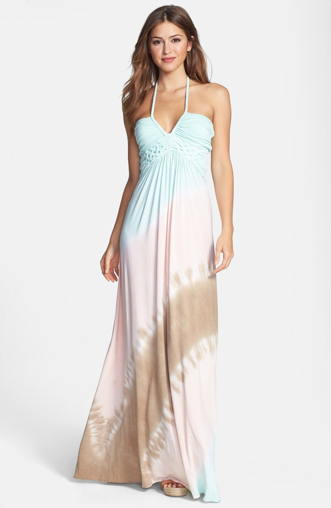 Alternate Image 1 Selected - Sky Tie Dye Jersey Halter Maxi Dress