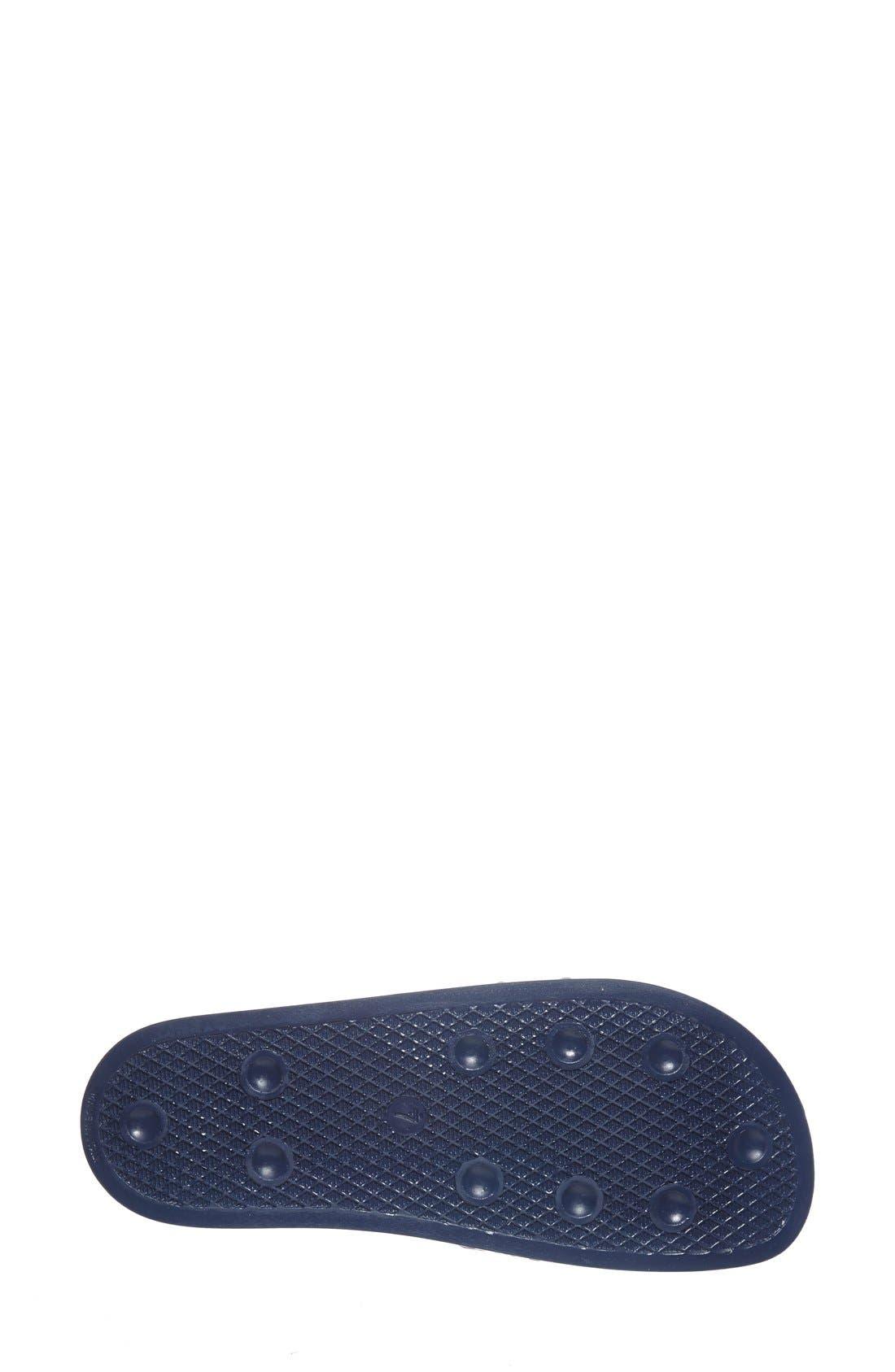 'Adilette' Slide Sandal,                             Alternate thumbnail 4, color,                             New Navy/ White