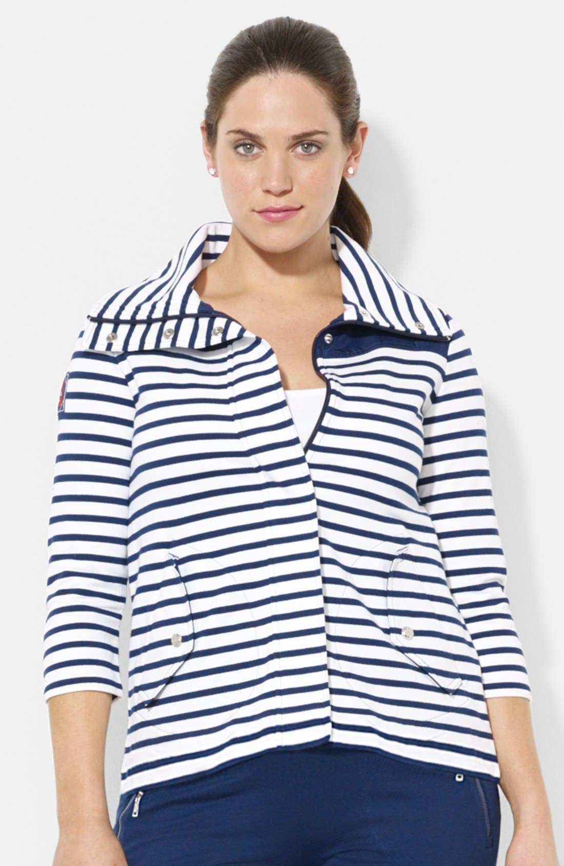 Alternate Image 1 Selected - Lauren Ralph Lauren Stripe French Terry Jacket (Plus Size)