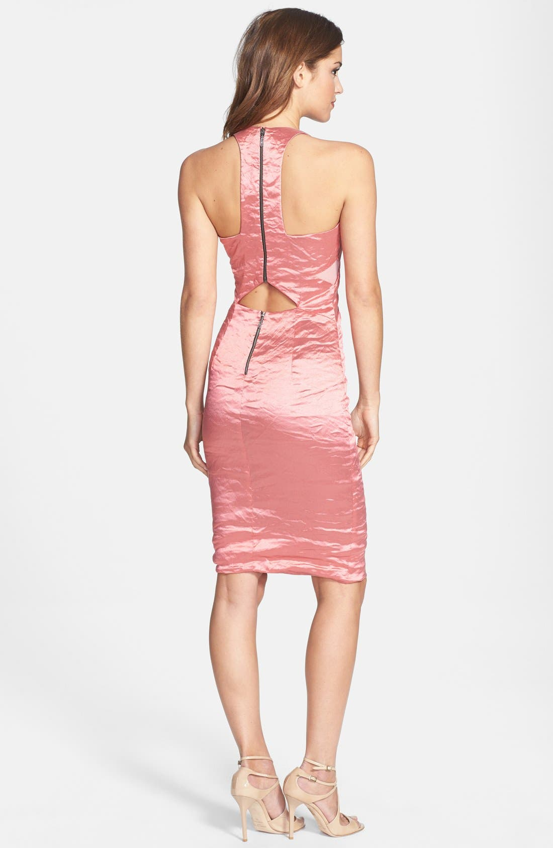 Alternate Image 2  - Nicole Miller Techno Metal T-Back Sheath Dress