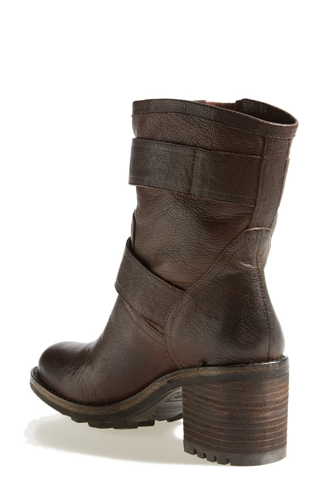 'Troy' Moto Boot,                             Alternate thumbnail 2, color,                             Dark Brown Leather