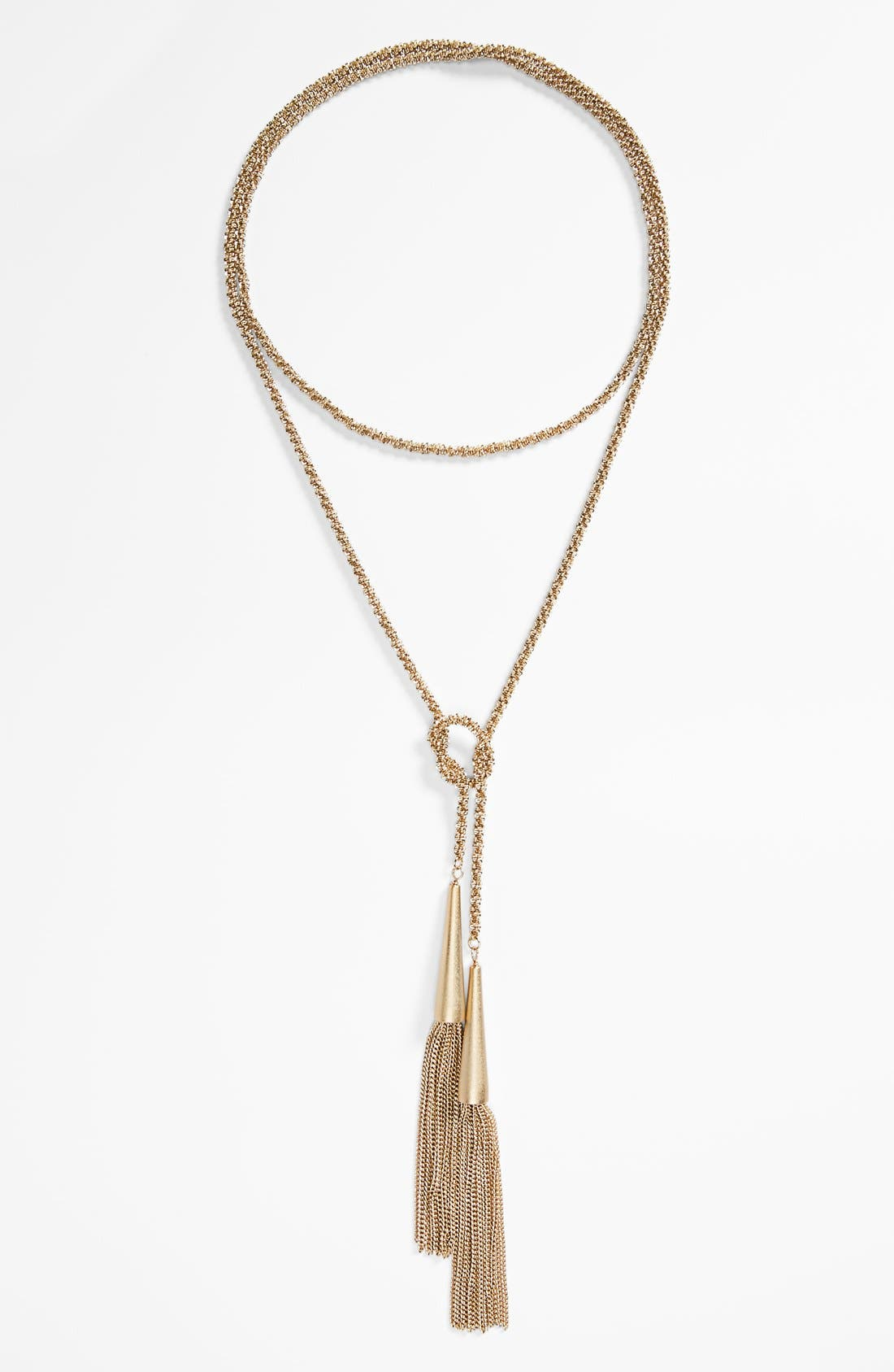 'Phara' Tassel Lariat Necklace,                             Alternate thumbnail 2, color,                             Gold