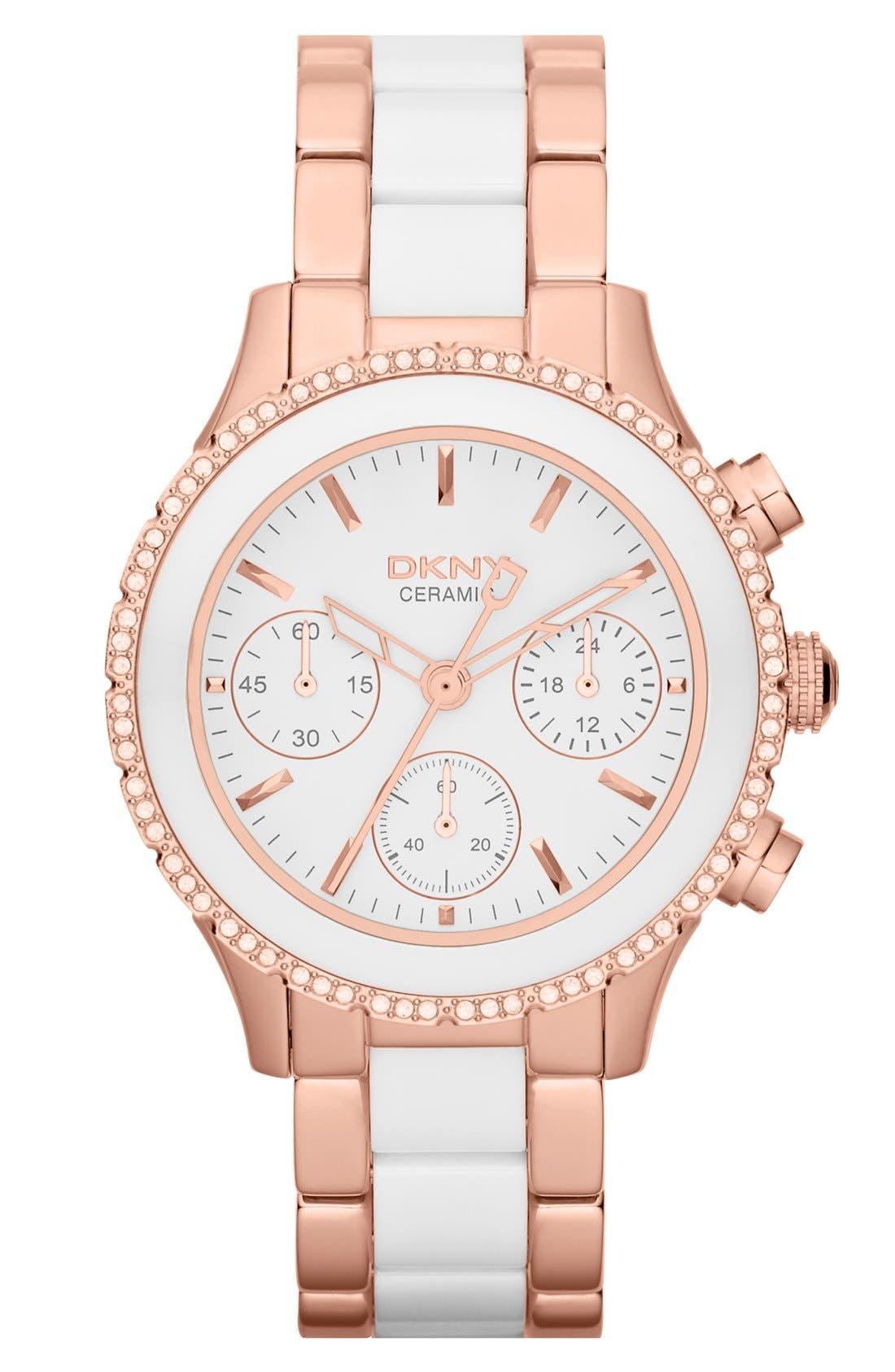 Alternate Image 1 Selected - DKNY 'Westside' Crystal Bezel Chronograph Ceramic Bracelet Watch, 38mm