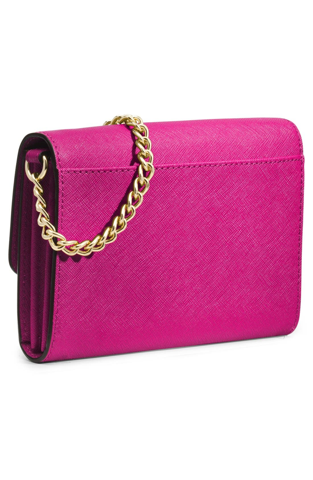 'Jet Set - Large Phone' Saffiano Leather Crossbody Bag,                             Alternate thumbnail 3, color,                             Raspberry