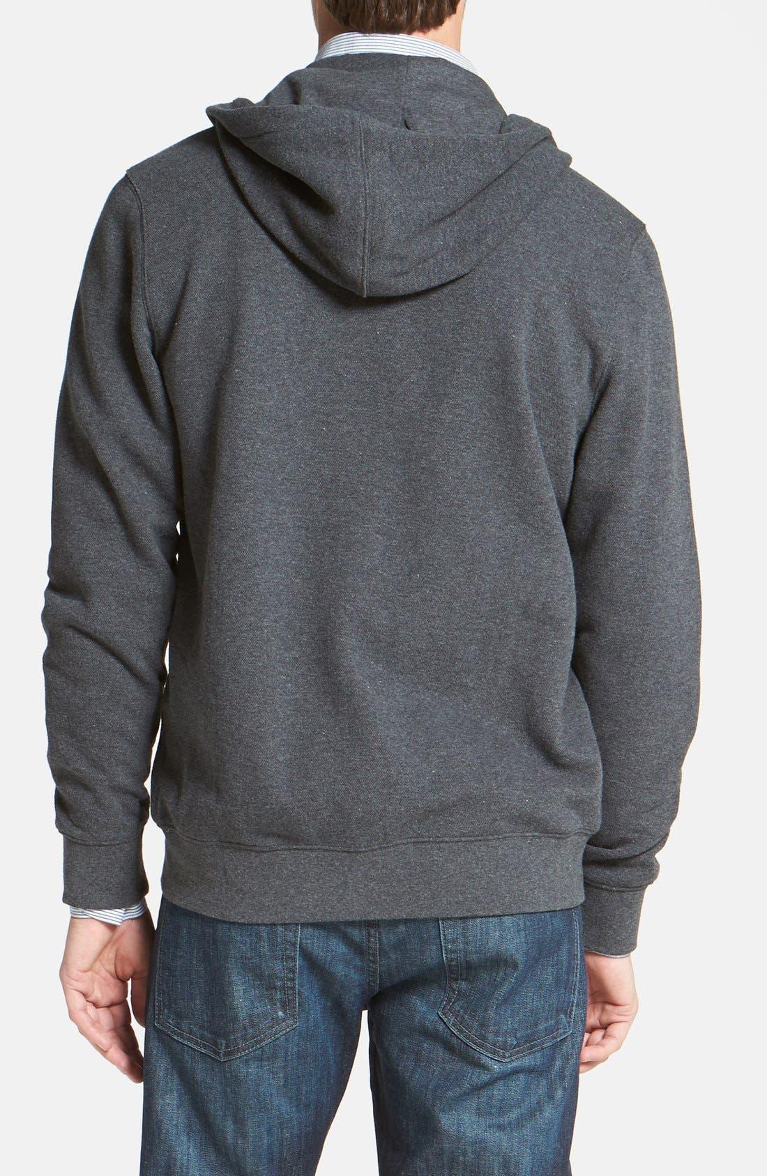 Alternate Image 2  - Nordstrom Full Zip Piqué Knit Hoodie