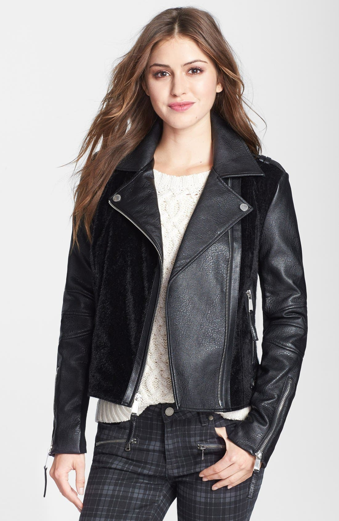 Main Image - BCBGeneration Faux Leather & Faux Calf Hair Moto Jacket