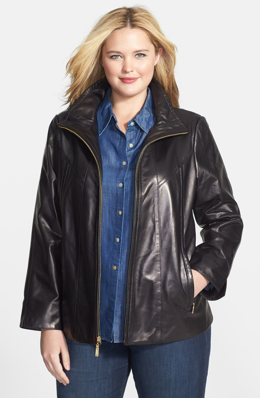 Main Image - Ellen Tracy Front Zip Lambskin Leather A-Line Jacket (Plus Size)