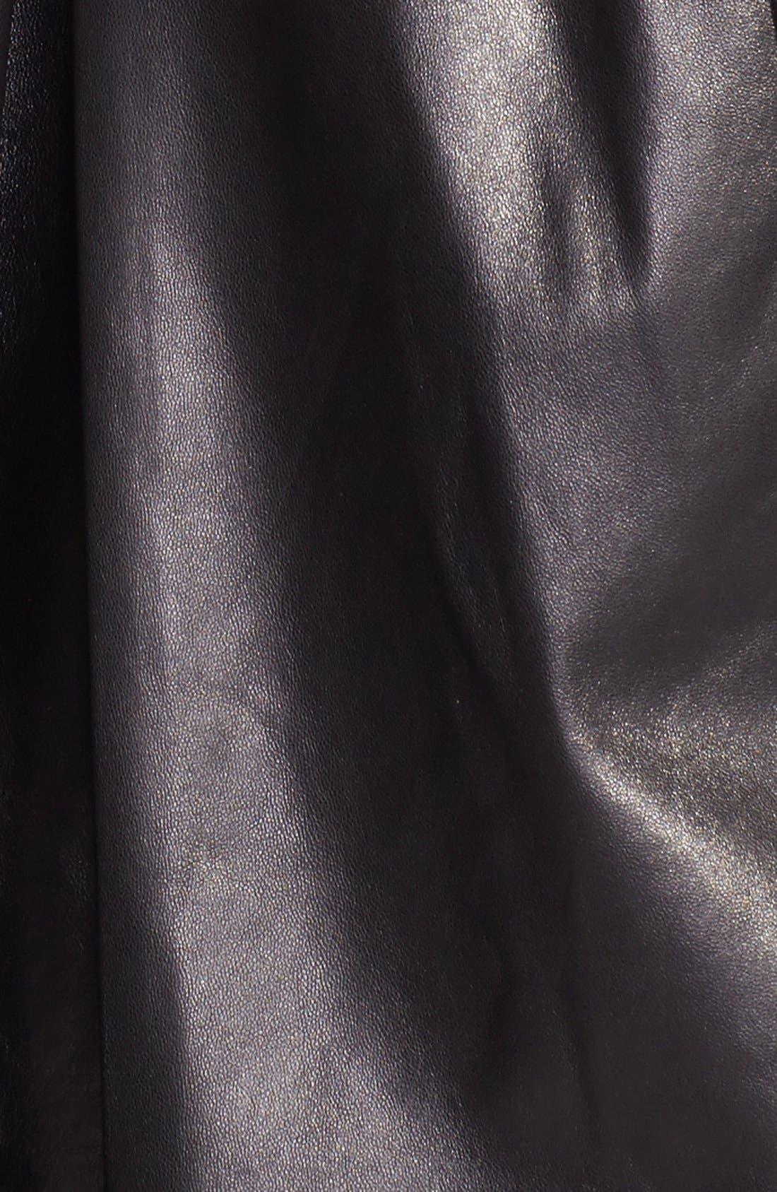 Alternate Image 3  - Ellen Tracy Front Zip Lambskin Leather A-Line Jacket (Plus Size)