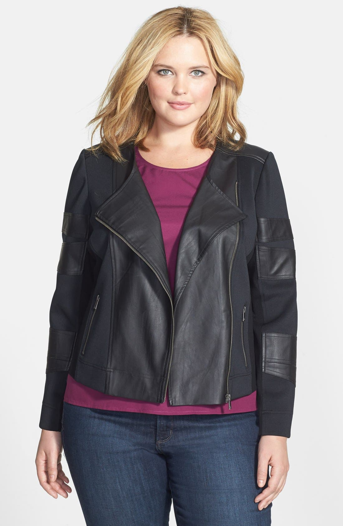 Alternate Image 1 Selected - Two by Vince Camuto Collarless Mixed Media Moto Jacket (Plus Size)