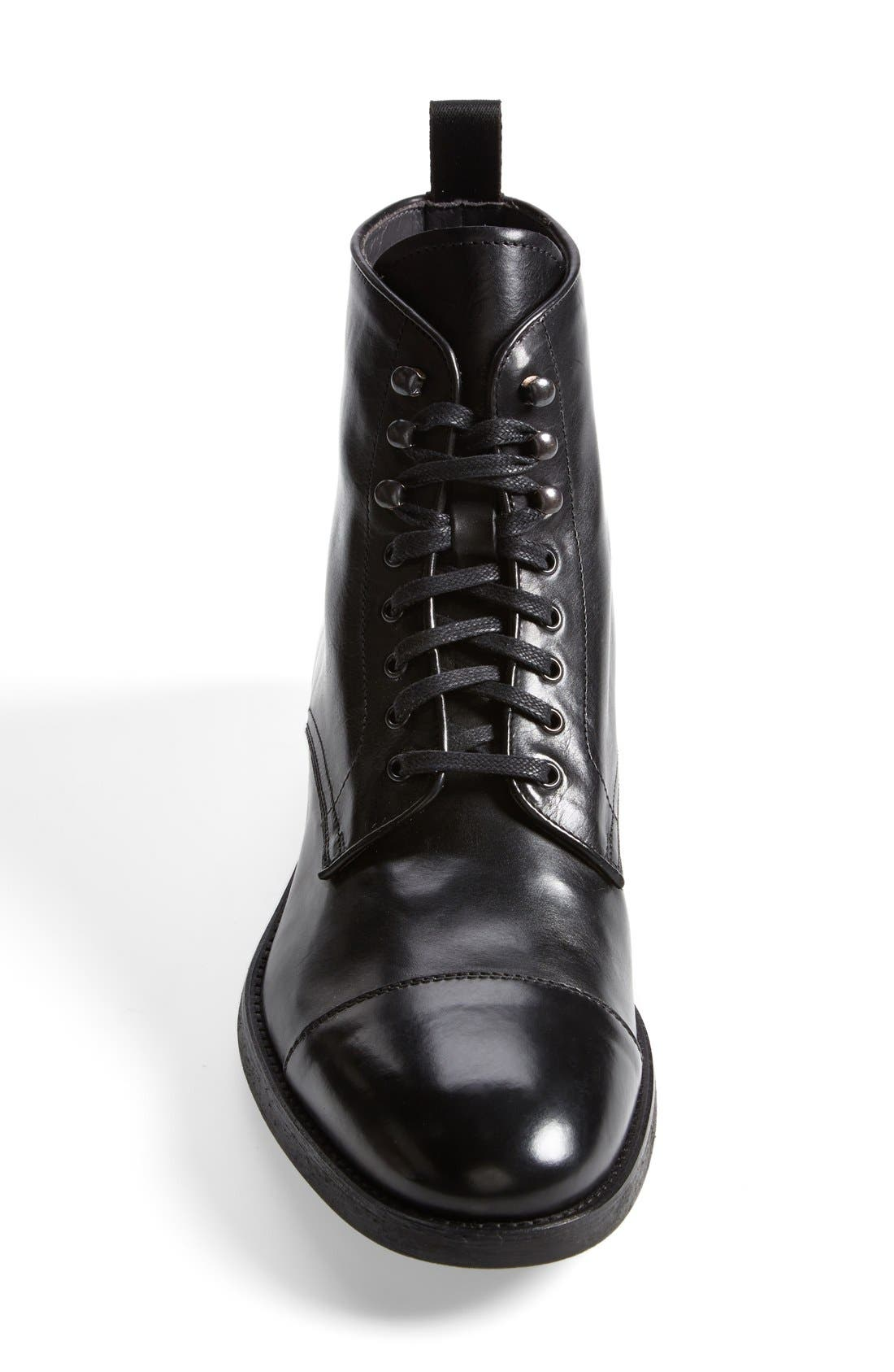 'Stallworth' Cap Toe Boot,                             Alternate thumbnail 3, color,                             Black Leather