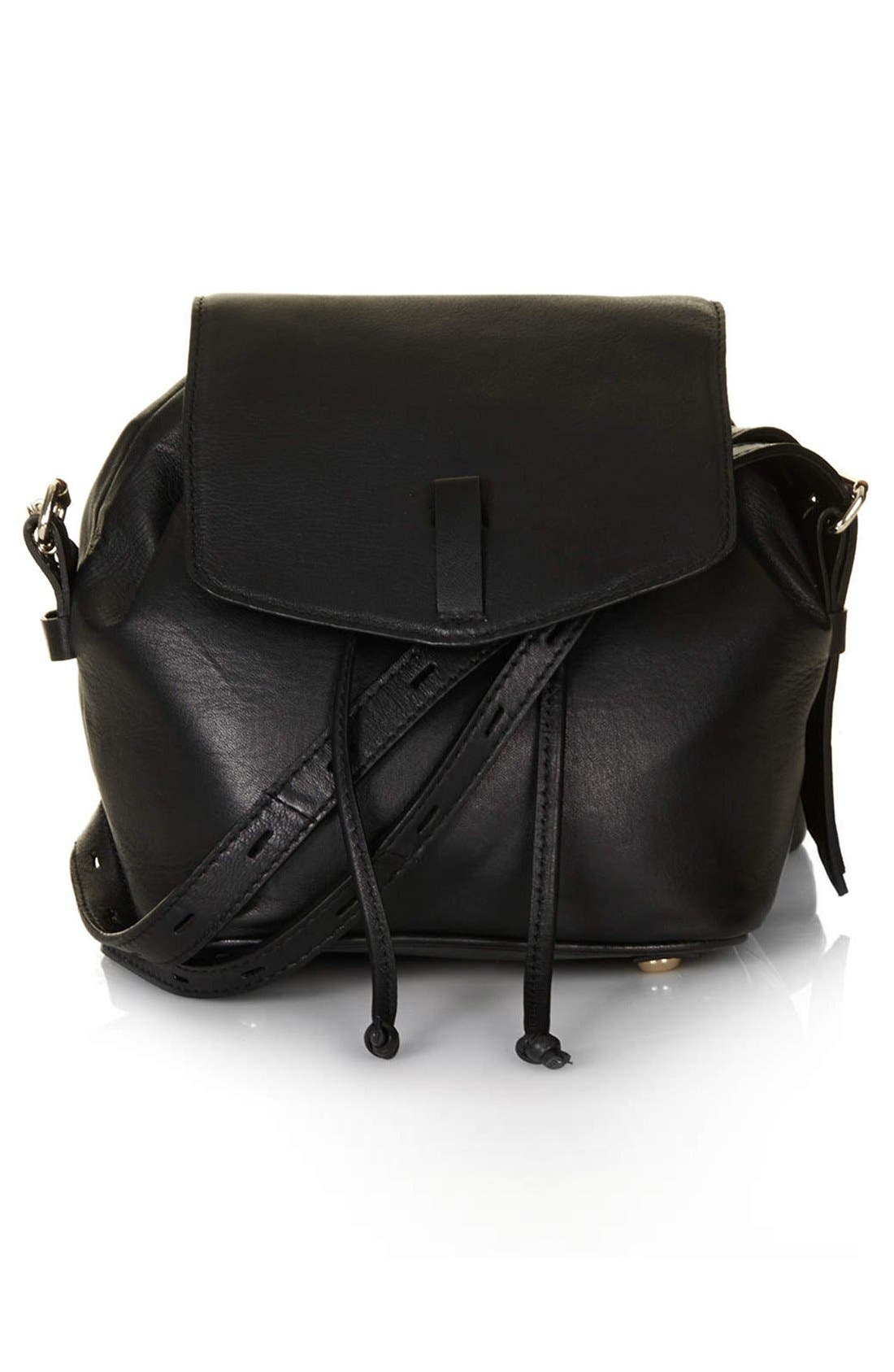Leather Convertible Crossbody Bag,                         Main,                         color, Black