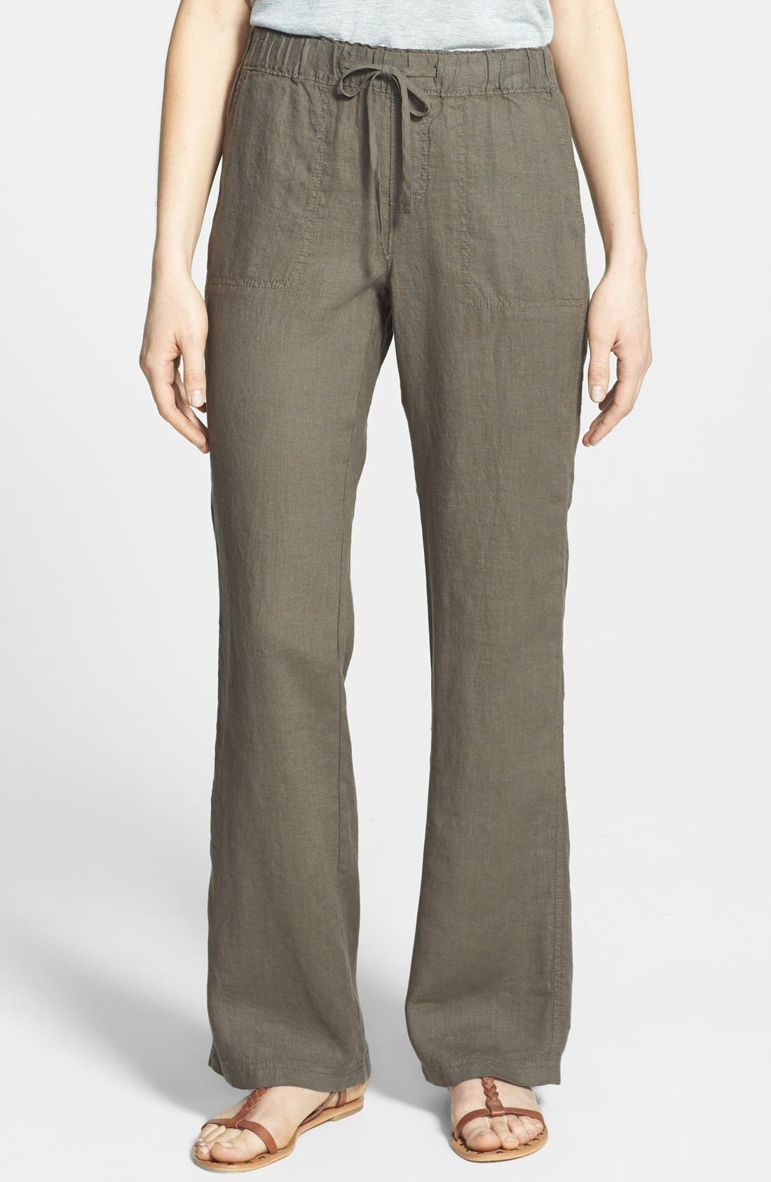 Alternate Image 1 Selected - Caslon® Drawstring Waist Linen Pants (Regular & Petite)