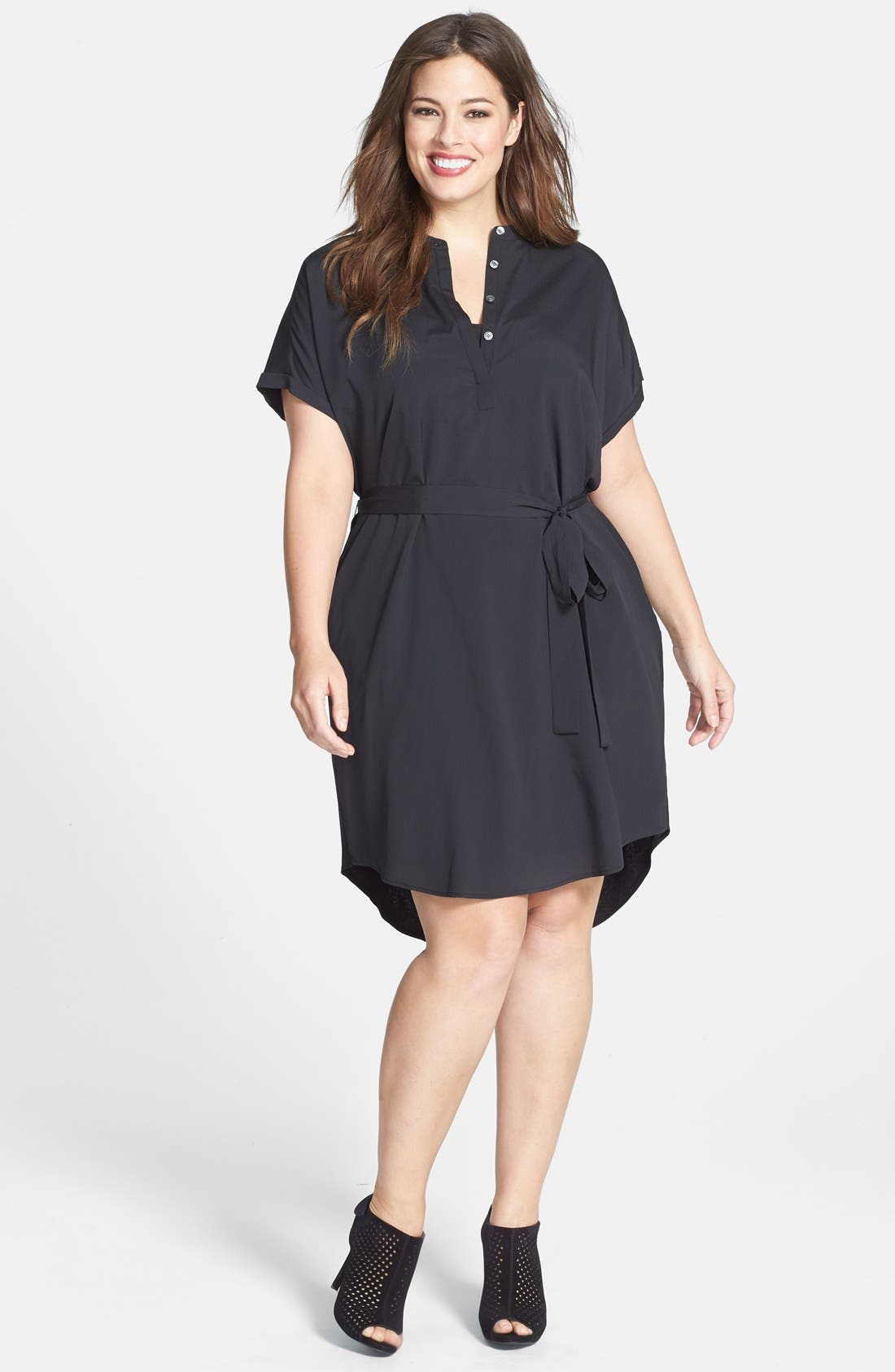 Alternate Image 1 Selected - DKNYC Half Placket Shirtdress (Plus Size)